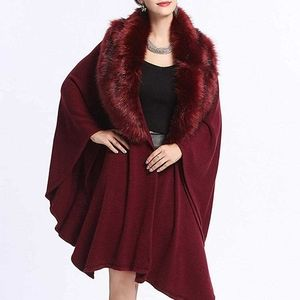 Burgundy Red Winter Faux Fur Trimmed Collar Poncho